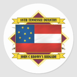 18th Tennessee Infantry Classic Round Sticker