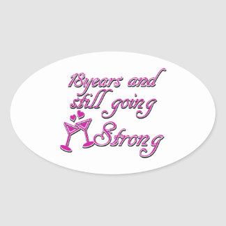 18th wedding anniversary oval sticker