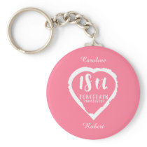 18th Wedding anniversary traditional porcelain Keychain