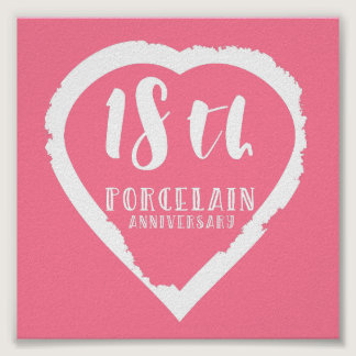 18th Wedding anniversary traditional porcelain Poster