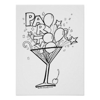 18x24 COLORING POSTER, COCKTAIL PARTY TIME DESIGN Poster