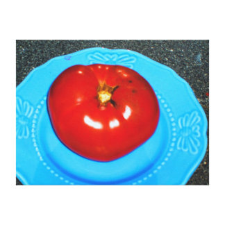 "18x24"" DELICIOUS RIPE RED TOMATO ON A BLUE PLATE Gallery Wrap Canvas"