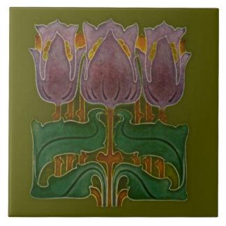 1900 Art Nouveau Poppy Tile Antique Reproduction