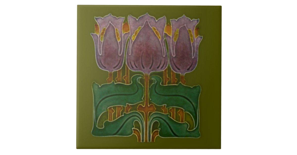 1900 Art Nouveau Poppy Tile Antique Reproduction Zazzle Com