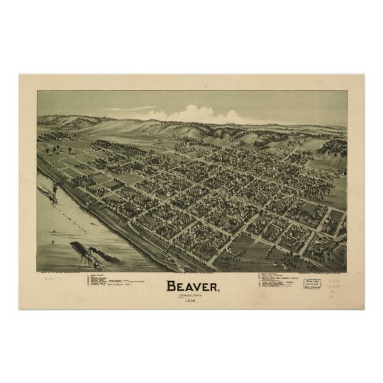 1900 Beaver, PA Birds Eye View Panoramic Map Poster