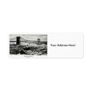 1900 Brooklyn Bridge Panorama Custom Return Address Labels