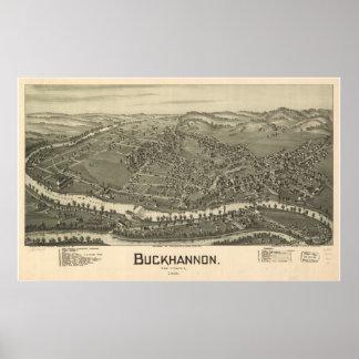 1900 Buckhannon, WV Bird's Eye Panoramic Map Poster
