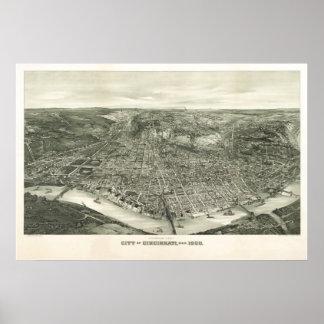 1900 Cincinnati, OH Birds Eye View Panoramic Map Poster