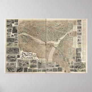1900 Easton, PA & Phillipsburg, NJ Panoramic Map Poster