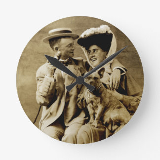 1900 Happy Young Couple Round Clock