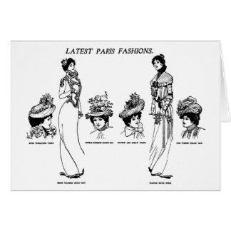 1900 Hat Fashions Newspaper Illustration Greeting Cards