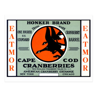 1900 Honker Brand Cranberries Postcard
