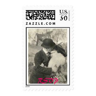1900 lovers kissing RSVP stamp