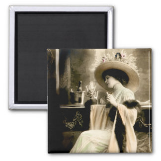 1900 Parisian Woman Drinking Champagne 2 Inch Square Magnet