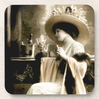 1900 Parisian Woman Drinking Champagne Drink Coaster
