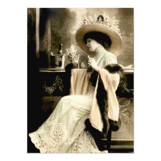 "1900 Parisian Woman Drinking Champagne 5.5"" X 7.5"" Invitation Card"