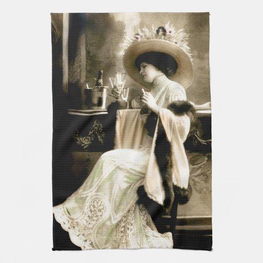 1900 Parisian Woman Drinking Champagne Kitchen Towels