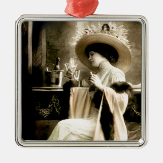 1900 Parisian Woman Drinking Champagne Metal Ornament