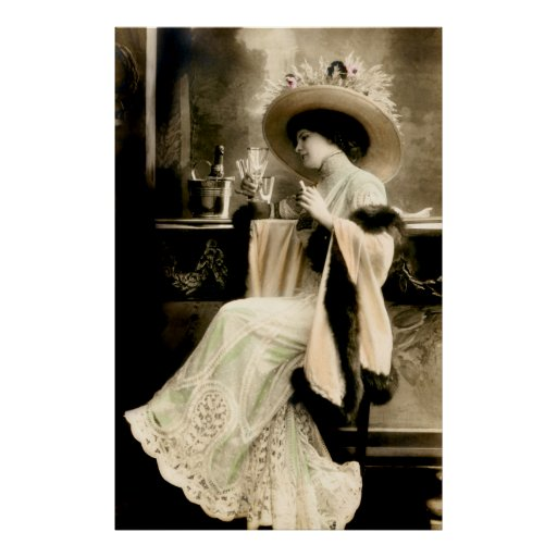 1900 Parisian Woman Drinking Champagne Poster