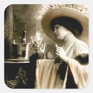 1900 Parisian Woman Drinking Champagne Square Sticker