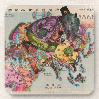 1900 World View Map Beverage Coaster