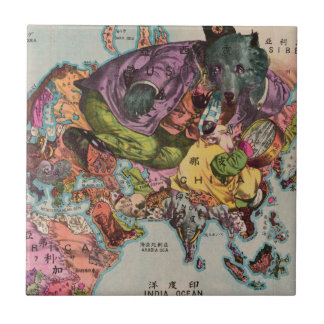 1900 World View Map Ceramic Tile