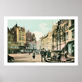1900s Antwerp Belgium city center restored Poster
