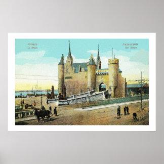 1900s Antwerp Belgium Steen castle restored Poster