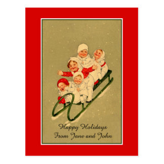 1900s Cutest toddler girls on sled, Christmas Postcard