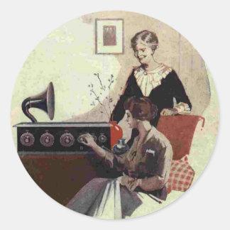 1900s de radio de la pintura del vintage pegatina redonda