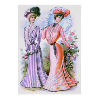 1900s Fashion Dresses Poster