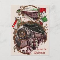1900s Home For Christmas Train Holiday Postcard
