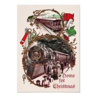 1900s Home for Christmas Train Party Invitation