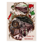 1900s Home For Christmas Train Post Card