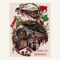 1900s Home For Christmas Train Postcard