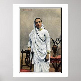 1900s la India, mujer del vintage de Parsi Póster