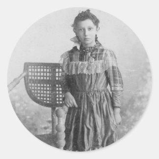 1900's Portrait of Girl Classic Round Sticker