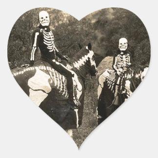 1900's Skeleton Horsemen Heart Sticker
