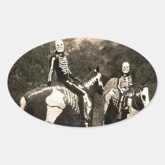 1900's Skeleton Horsemen Oval Sticker