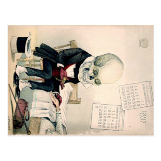 1900s skull, skeleton pharmaceutical ad postcard