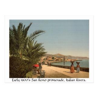 """1900's temprano """"promenade"""" de Italia, San Remo Tarjetas Postales"""