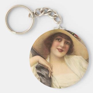 1900's Vintage Victorian Woman Keychain