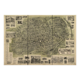 1901 Allentown, PA Birds Eye View Panoramic Map Poster