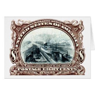 1901 Canal Locks Michigan Card