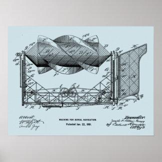 1901 Flying Machine Airplane Art Drawing Print