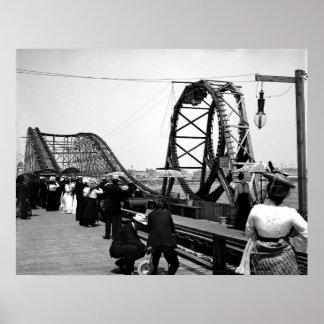1901 la impresión de la montaña rusa del lazo póster