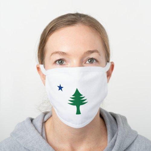 1901 Maine Flag White Cotton Face Mask