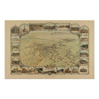 1901 Panoramic Map Birds Eye View, Bakersfield, CA Poster
