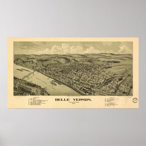 1902 Belle Vernon, PA Birds Eye View Panoramic Map Poster