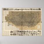 1902 búfalo, mapa panorámico de la opinión de ojo  impresiones